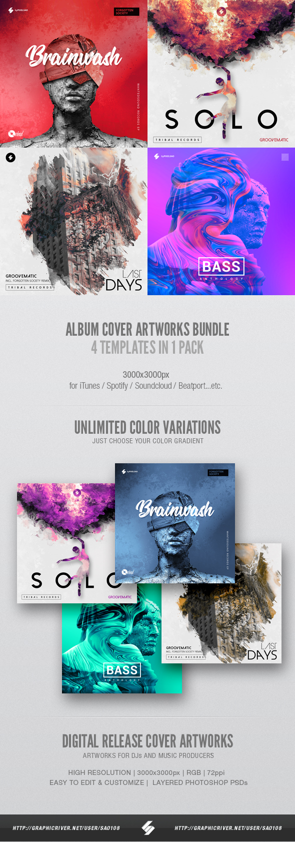 alternative album cover graphic templates bundle