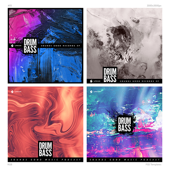 drum and bass album cover templates pack