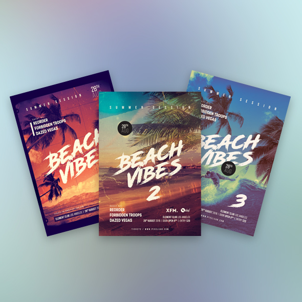 beach vibes flyers bundle