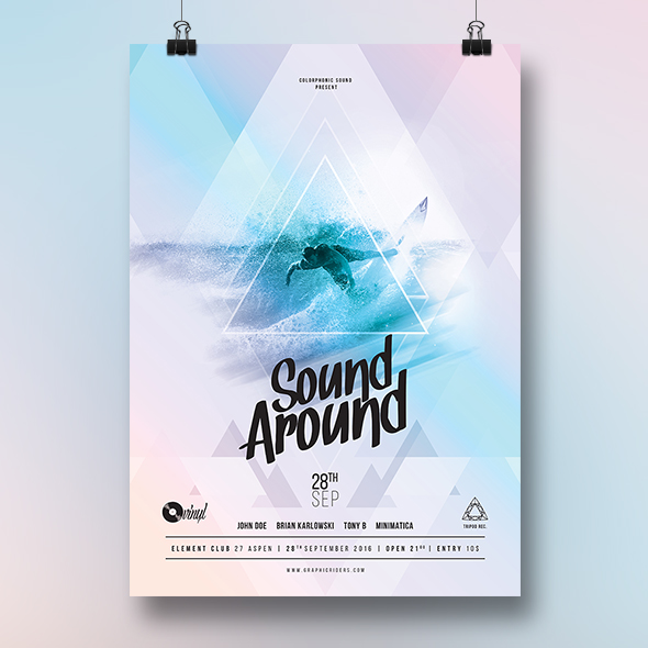 surf party flyer template