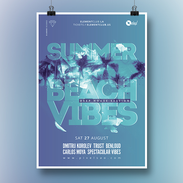 beach vibes party flyer template