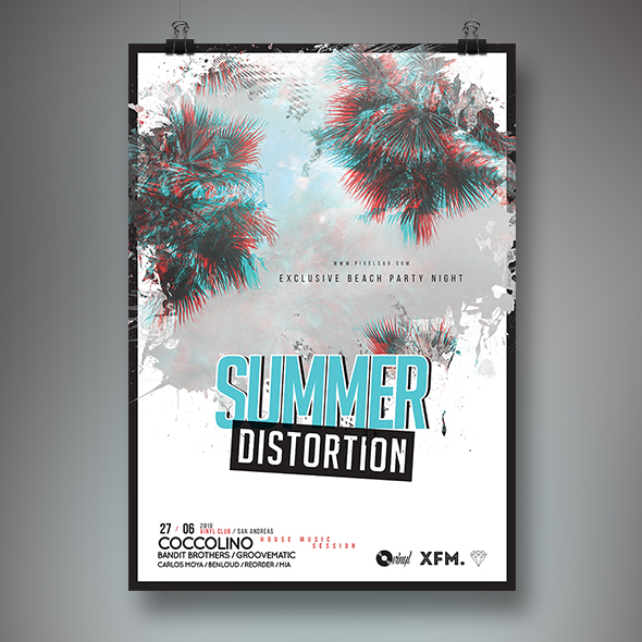 glitch effect summer flyer template