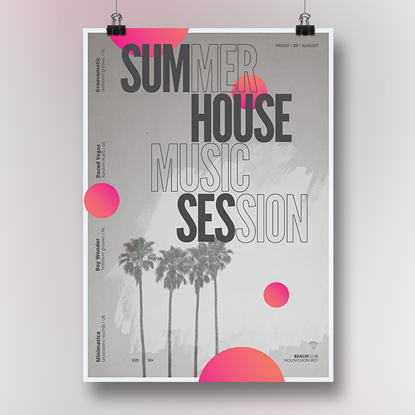 summer house music poster template