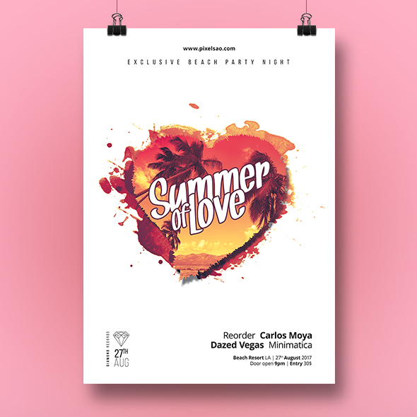 summer love poster template