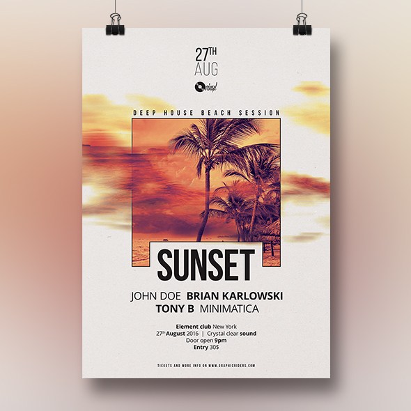 sunset party flyer template