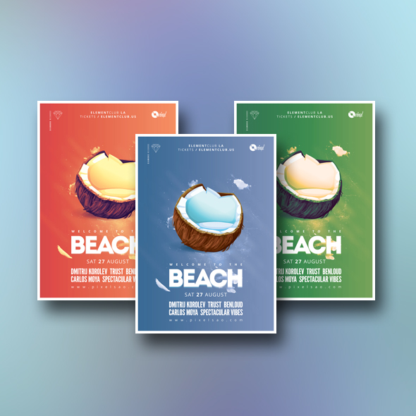 coconut party flyer template