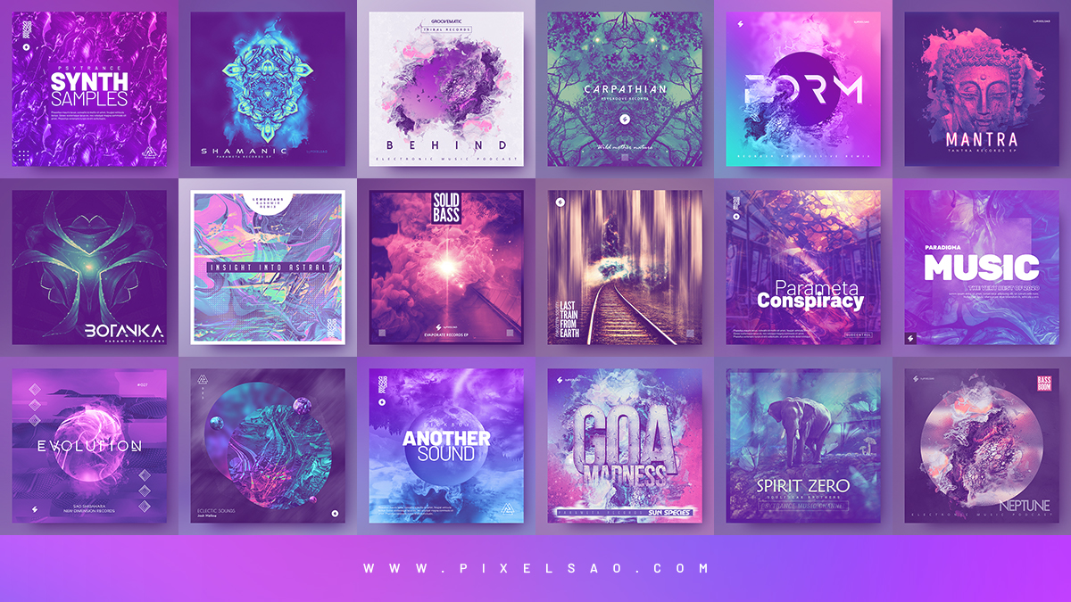 psytrance album cover templates