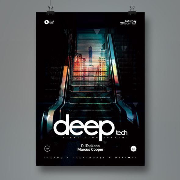 deeptech party poster template