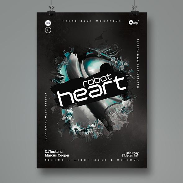 robot heart poster template