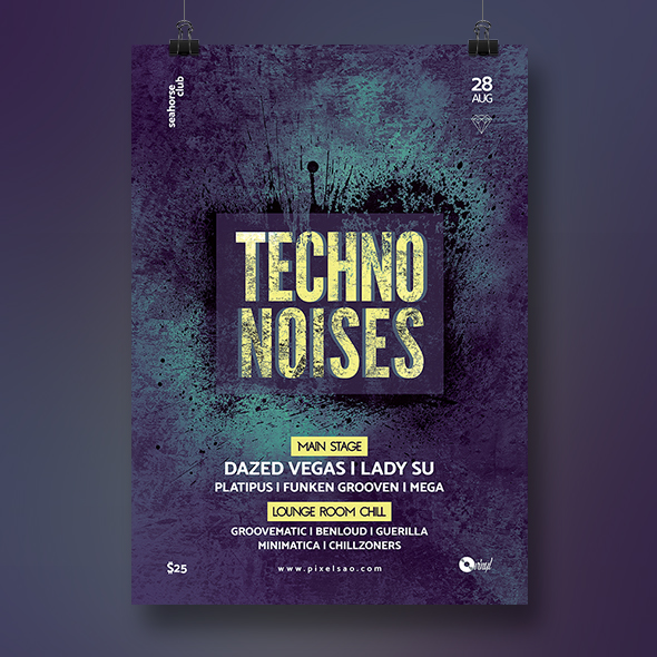 techno poster template