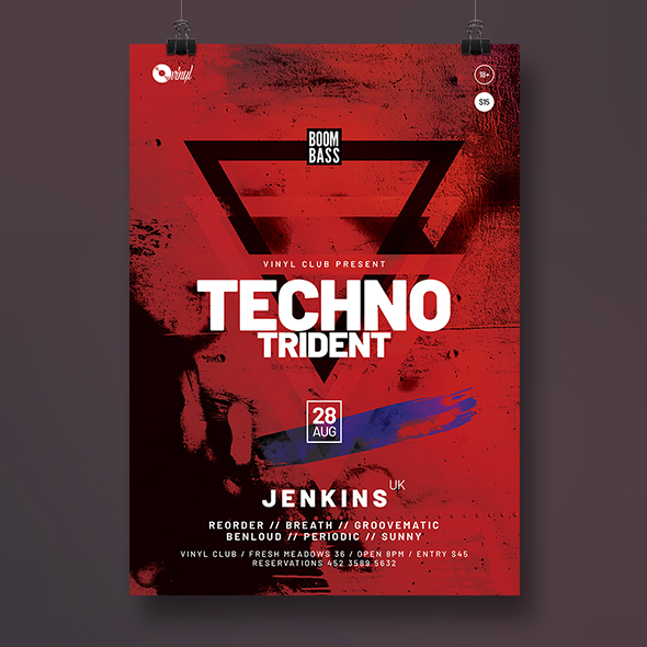 techno trident poster template