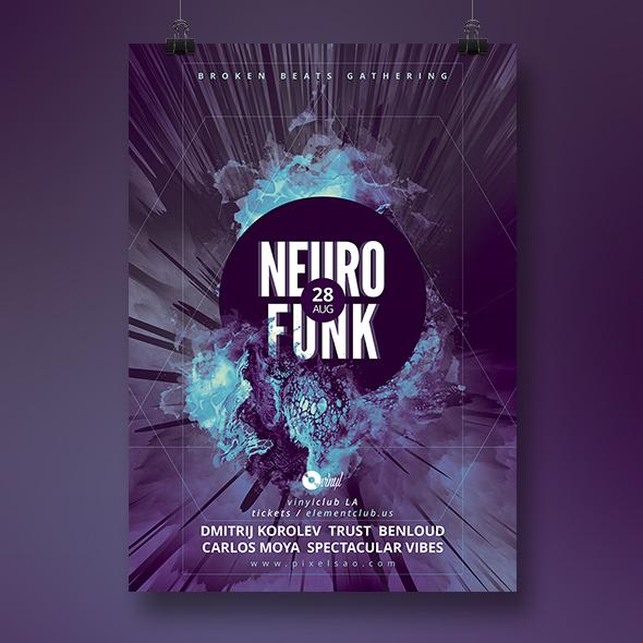 neurofunk party flyer template