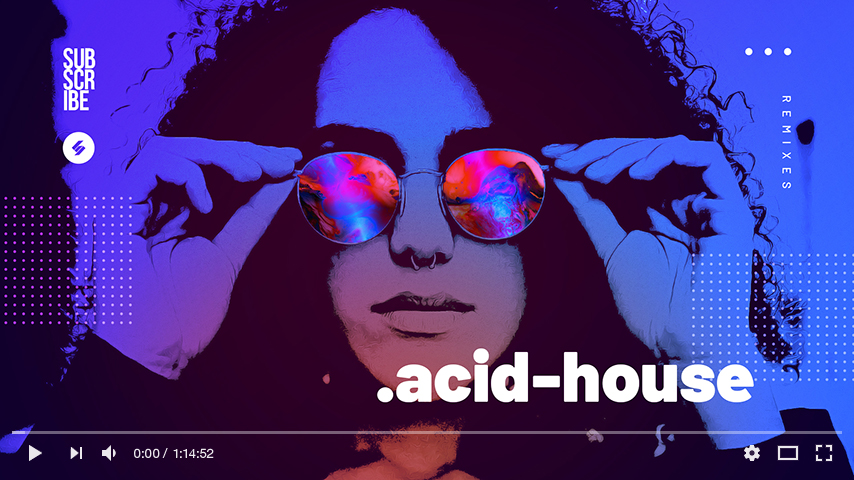acid house youtube thumbnail template