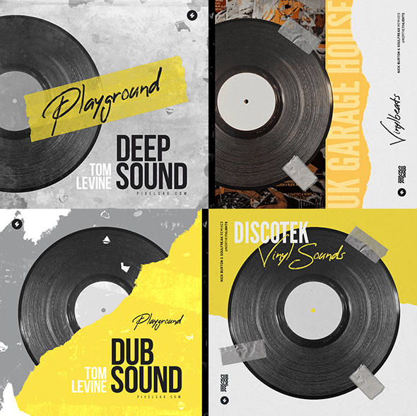 vinyl house music cover templates